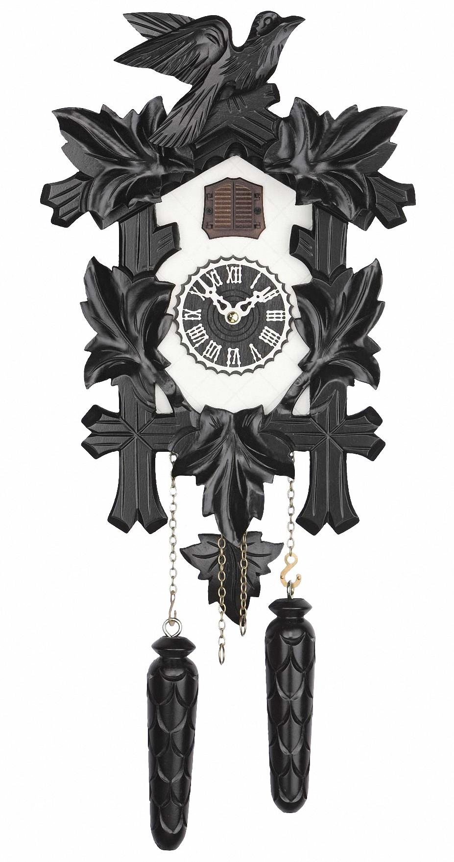 quarz kuckucksuhr 5 laub vogel tu 350 20 q schwarz weiss neu ebay. Black Bedroom Furniture Sets. Home Design Ideas